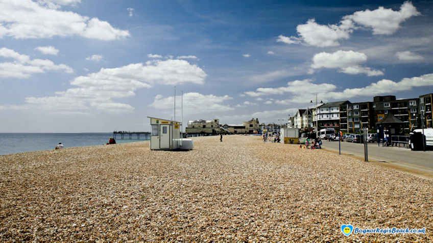 East Beach looking West with life guard stand Bognor Regis